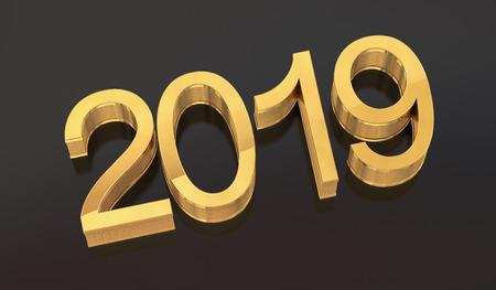 3D Gold Metal 2019 on Gray Background. Three-dimensional rendering. Standard-Bild - 110832489