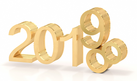 3D Golden 2019. 2018-2019 change represents the new year 2019. 免版税图像
