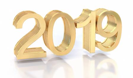 3D Gold Metal 2019 on White Background. Three-dimensional rendering. Zdjęcie Seryjne