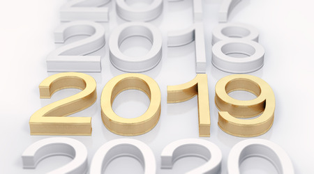 3D Gold Metal 2019 on white Background. Three-dimensional rendering. Focus on 2019 golden text.