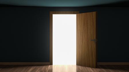 3D render of light in empty room through the opened door. Open single door in darkness to light room 3D illustration.
