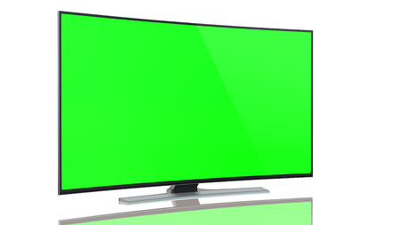 UltraHD Smart Tv with Curved green screen on white background