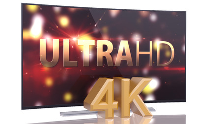 UltraHD Smart Tv with Curved screen on white background Imagens