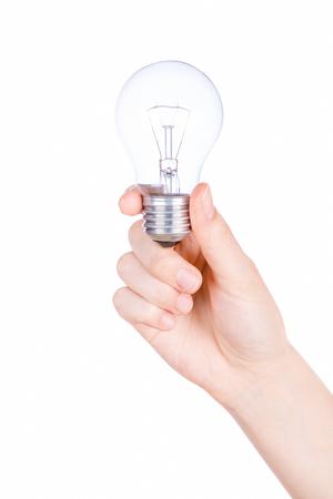 Female hand holding a light bulb on white background