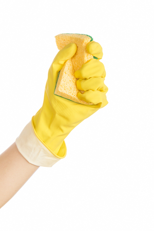 Woman hand with rubber glove and cleaning sponge on white background