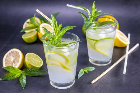 Homemade refreshing summer lemonade with mint in a glass on a grey and black background. Focus on leaf. Zdjęcie Seryjne