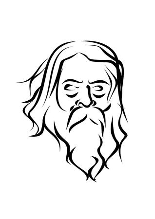 man long hair: a wise old man