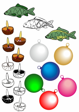 Collection of Christmas images. Christmas carp, ornaments on tree, candles. Ilustração