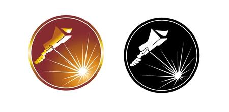 welder: Icon, symbol worker. Cartoon welder.