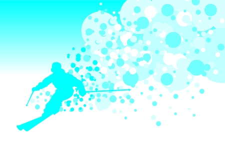 downhill: Skier in downhill. Picture with free space for text.