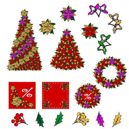 christmas flower: Collection of Christmas images. Christmas drawings. You can create your own Christmas card of the added components. Star, Christmas flower, tree, mistletoe, leaves, berries. Illustration