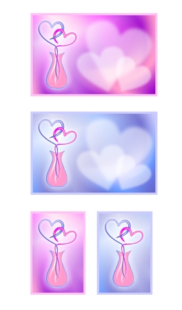 secret love: Valentines Day cards with hearts. Cartoon images of love. A gift for a loved one.I collection of images. Stock Photo