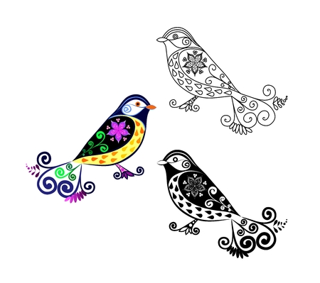variation: Titmouse bird. Cartoon image. Black and white and color variation. Possibility to paint the the according to your idea. Elaborate drawing. Illustration