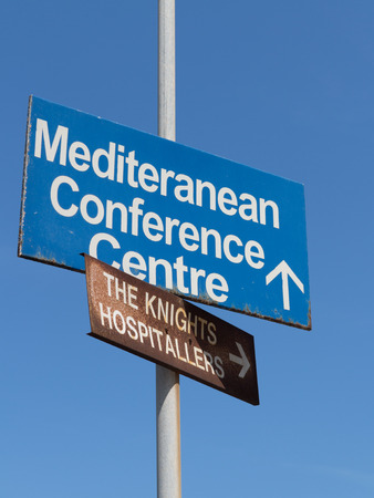 conference centre: Two direction signs  Mediteranean Conference Centre, The Knights Hospitallers