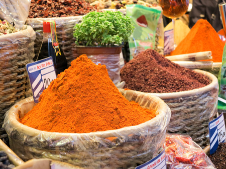 suq: Chili powder offered on the Grand Bazaar, Istanbul, Turkey Stock Photo