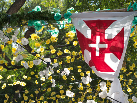 typical: Flag of Madeira surrounded by typical paper flowers