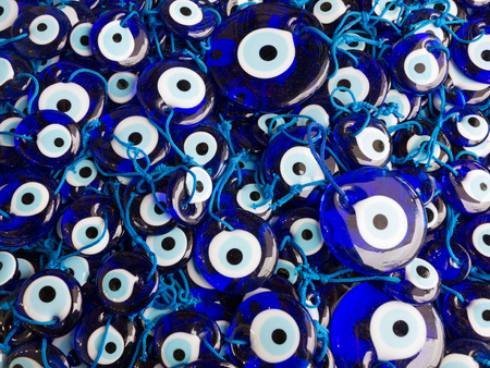 suq: Blue Evil Eye Amulets, Grand Bazaar, Istanbul Stock Photo