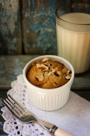 Tasty breakfast. Cake with nuts and milk. Your kids will be happy. photo