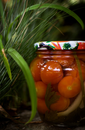 Canned cherry tomatoes. Environmentally friendly product, organic gardening. photo