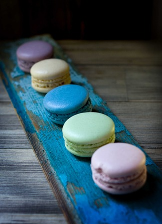 Delicate multi colored sweet macaroon. Gorgeous dessert. photo