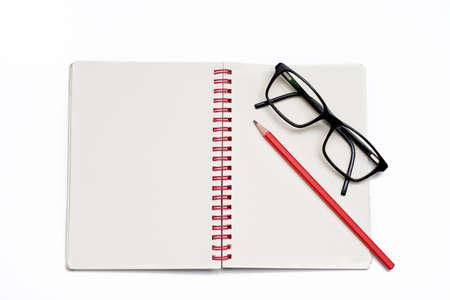 notebook black eyeglasses Stock Photo - 12830088
