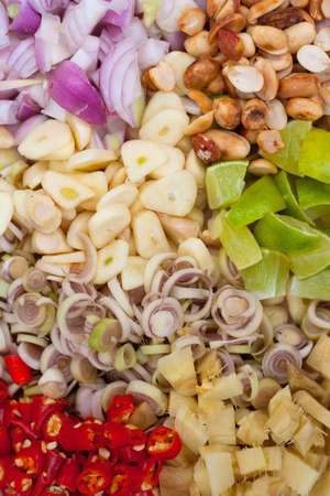 Garlic Shallots Lemon Peanuts Chili Lemon grass Ginger Spices  Stock Photo