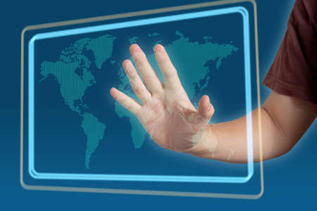 hand pushing on a touch