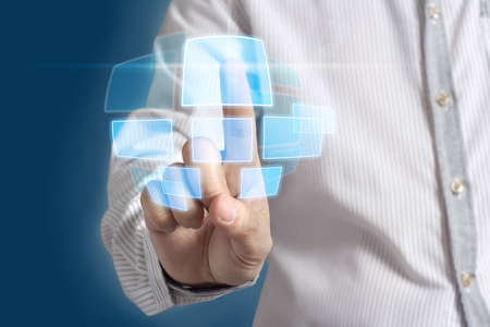 businessman hand pushing