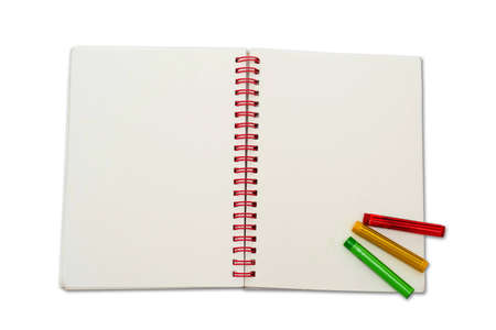notebook crayons Stock Photo