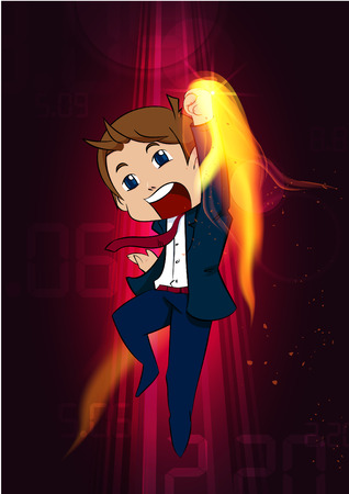 bussiness man cartoon upper cut boxing
