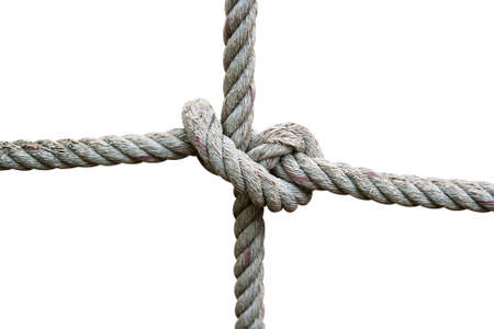 durable: strong knot tied by a rope on white isolated