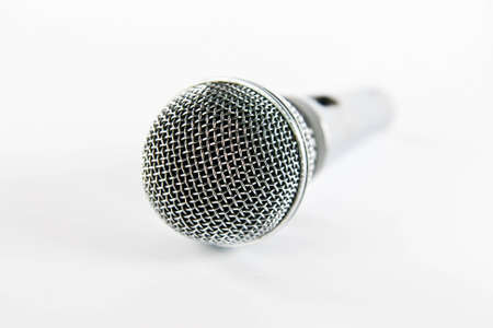 Silver microphone isolated on white Stock Photo - 10906615