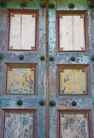 antique nails: close-up image of ancient doors