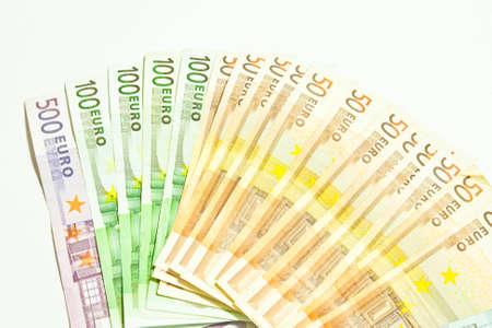 Euro money banknotes isolated on white background  photo