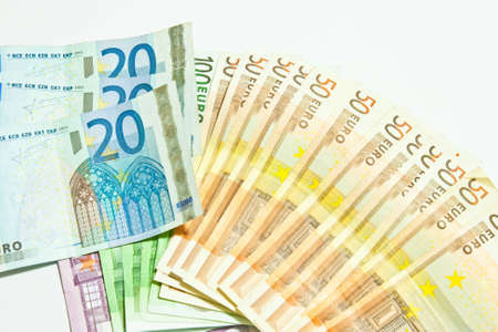 Euro money banknotes isolated on white background  photo
