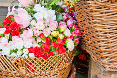 beautiful colorful flowers in flower shop  photo