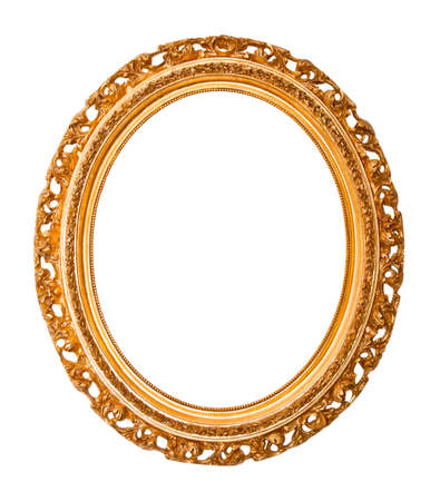 old antique gold frame over white background  photo