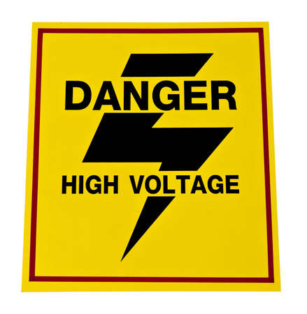 Danger High Voltage Sign, Isolated  photo