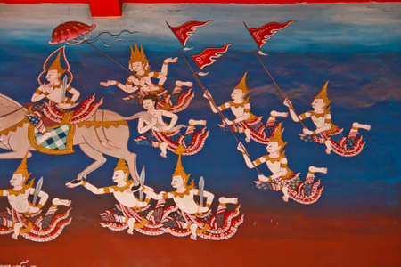 Mural Buddhist art in Thai temple, Thailand  Editorial