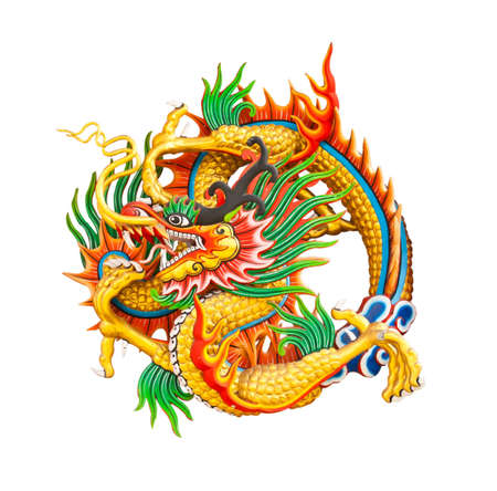 Oriental design of an ancient Chinese dragon on a temple wall in Thailand photo