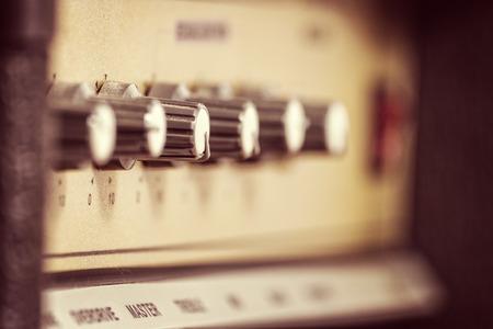 guitar amplifier: Closeup of retro electric guitar amplifier