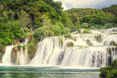 waterfall with sky: Beautiful waterfall in a croatian national park