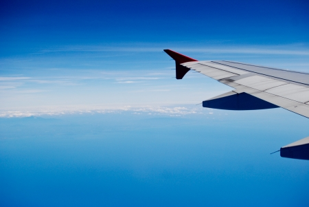 The wing of the airplane photo
