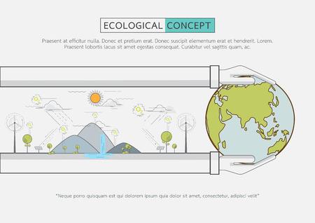 Ecologische concept design.Flat lijn groen eco life conservation.Vector illustratie.
