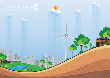 Eco concept and green city abstract background.With soil texture profile.Vector illustration. Illustration