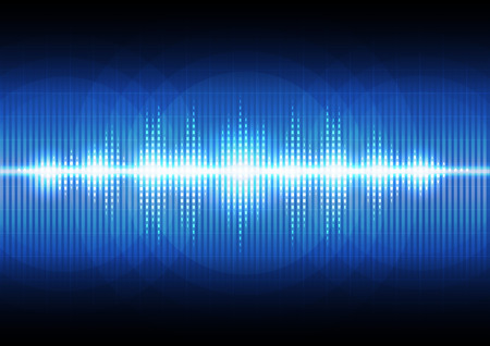 Digital sound wave music equalizer technology on dark blue abstract background.Vector illustration. Illustration