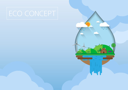 Green eco sustainable concept.With flat design. Ilustração