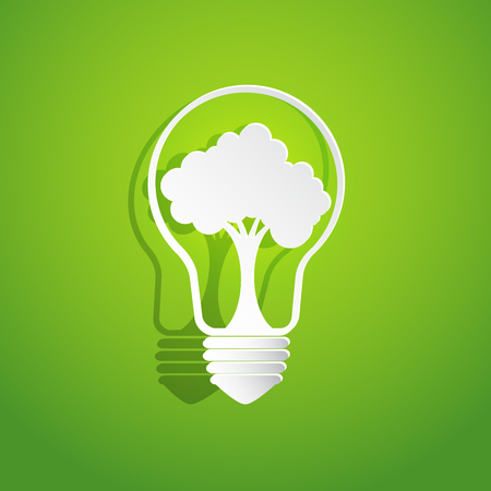 earth day: Nature and Eco conservation concept.With tree in light bulb shape on green background.Vector illustration.