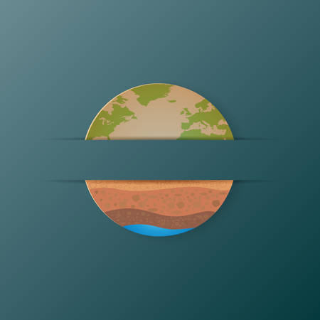 earth day: Earth icon and soil profile paper art style with ecological and environmet concept.Vector illustration. Illustration