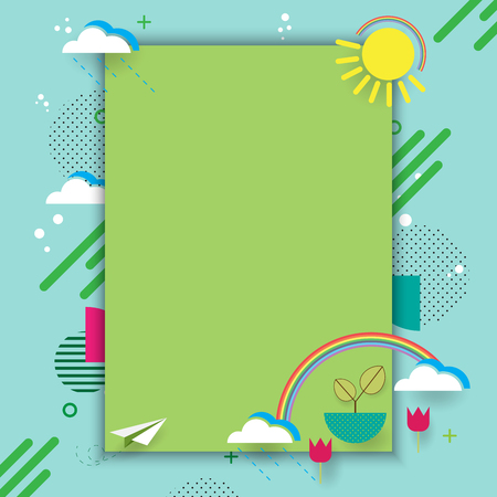World environment day with eco and nature concept.Flat line design and poster design with geometric simple shapes vector illustration.